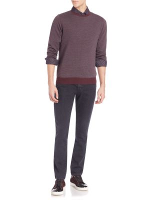 Merino Wool Brick Pattern Sweater by Saks Fifth Avenue Collection
