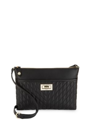 Diamond Stitched Leather Crossbody Bag by Karl Lagerfeld Paris