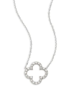 Diamond And 14 K White Gold Clover Necklace by Kc Designs