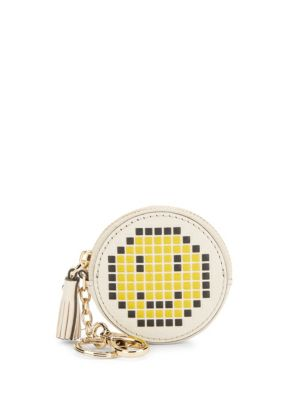 Pixel Smiley Leather Coin Purse by Anya Hindmarch