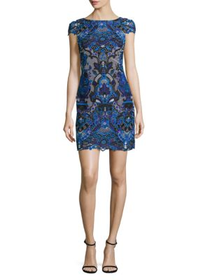 Nakia Boat Neck Embroidered Dress by Alice + Olivia