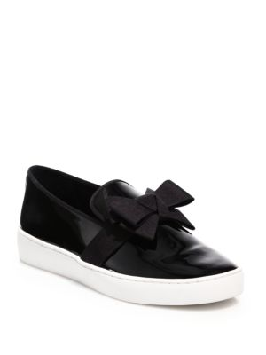 Val Bow Patent Leather Skate Sneakers by Michael Kors Collection
