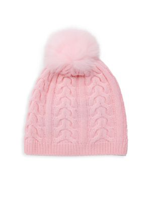 Fox Fur & Cashmere Knit Beanie by Saks Fifth Avenue Black