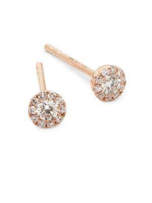 Mini Rose Gold Stud Earrings by Ef Collection