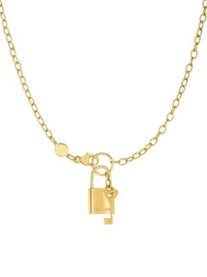 14 K Yellow Gold Lock And Key Chain Necklace by Saks Fifth Avenue