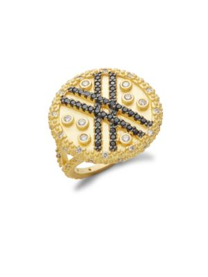 Pavé Crystal And Yellow Goldtone Vintage Deco Cocktail Ring by Freida Rothman