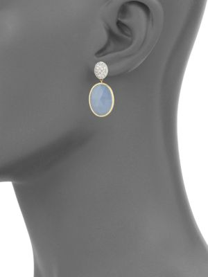 Hand Engraved Diamond, Chalcedony And 18 K Yellow Gold Drop Earrings by Marco Bicego