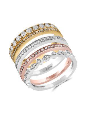 14 K Tri Tone Gold & Diamond Stacked Ring by Effy