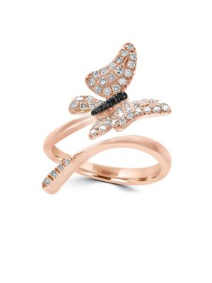 14 K Rose Gold And Diamonds Butterfly Ring by Effy