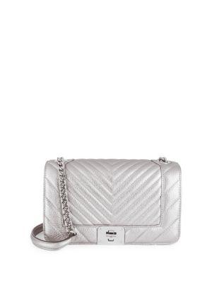 Lara Quilted Metallic Shoulder Bag by Karl Lagerfeld Paris