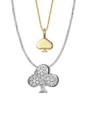 14 K Yellow Gold, White Gold And Diamonds Vegas Spade And Club Necklace by Alex Woo
