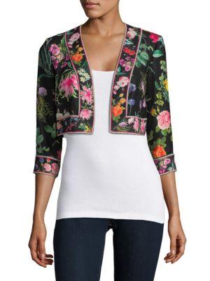Floral-Print Cropped Jacket