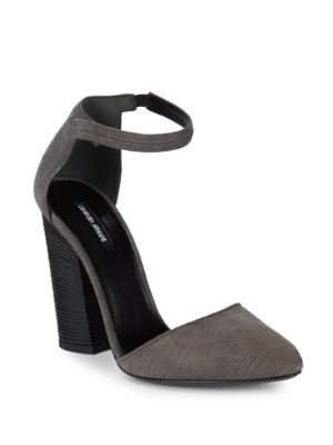 Stitched Suede Block Heels by Giorgio Armani