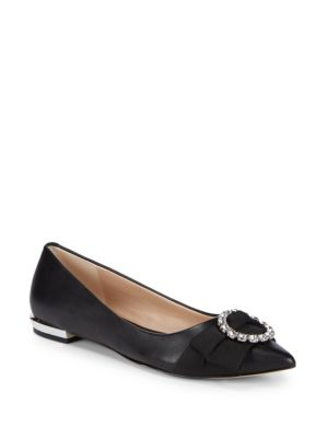 Bow Leather Ballet Flats by Karl Lagerfeld Paris