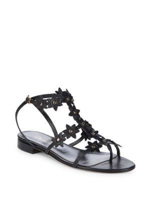 Jenisa Leather Flower Gladiator Sandals by Oscar De La Renta