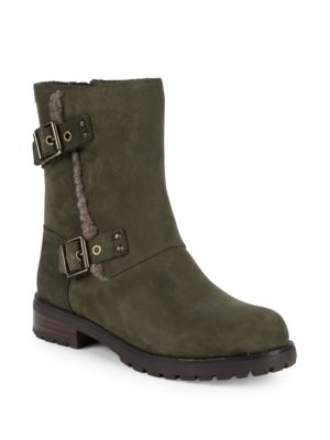 niels-lamb-shearling-trimmed-leather-mid-calf-boots by ugg-australia
