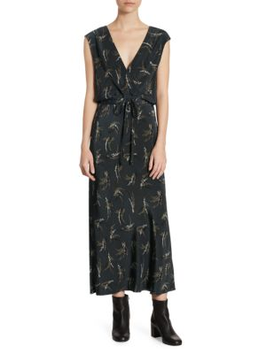 Spring Floral Print Silk Midi Dress by Vince
