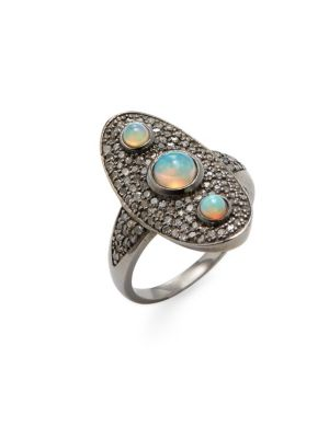 Diamond, Opal And Silver Goddess Ring by Adornia Fine Jewelry