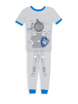Little Boy's Two Piece Pajama Top And Cotton Pants Set by Petit Lem