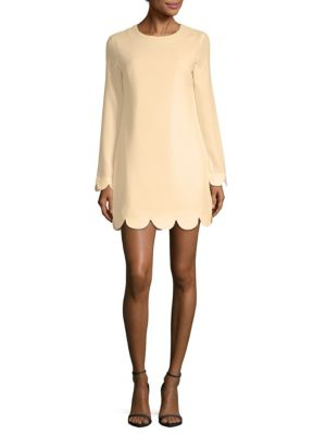 Scalloped Hem Long Sleeve Dress by English Factory
