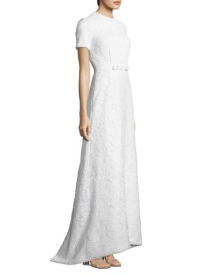 White Rose Lace Open Back Gown by Self Portrait