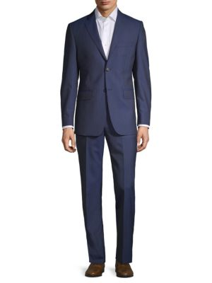 Slim Fit Striped Wool Suit by Saks Fifth Avenue Made In Italy