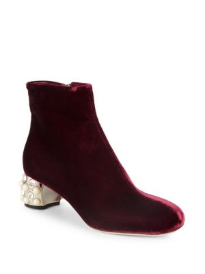 Embellished Heel Velvet Booties by Miu Miu