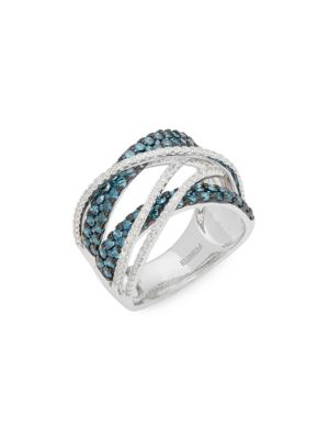 Diamond, Blue Diamond And 14 K White Gold Crossover Ring by Effy