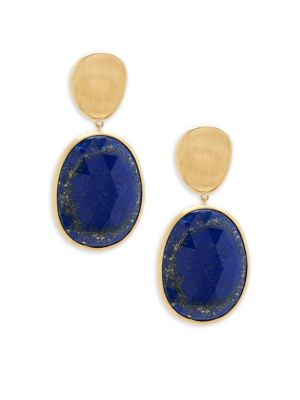 Lunaria Lapis And 18 K Yellow Gold Double Drop Earrings by Marco Bicego