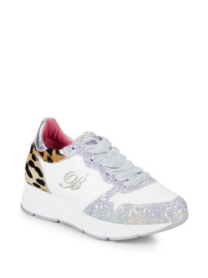 Leopard Dyed Calf Hair & Glitter Leather Sneakers by Blumarine