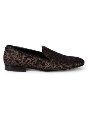 Jacquard Leather Smoking Slippers by Roberto Cavalli
