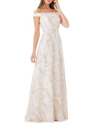 Floral Off The Shoulder Ball Gown by Carmen Marc Valvo Infusion