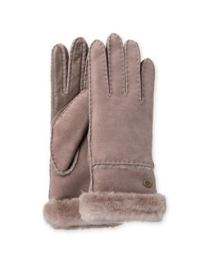 Exposed Slim Sheepskin Trimmed Leather Gloves by Ugg Australia