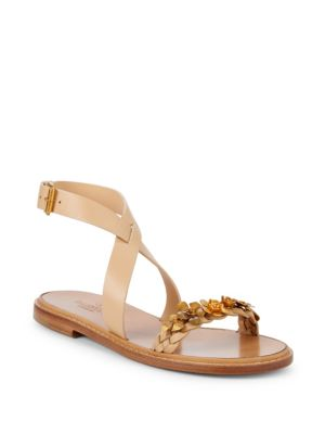 Floral Leather Ankle Strap Sandals by Valentino Garavani