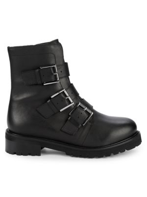 Obedience Leather Buckle Combat Boots by Seychelles