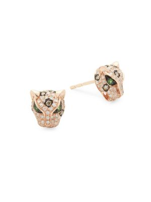 Diamond, Tsavorite & 14 K Rose Gold Stud Earrings by Effy