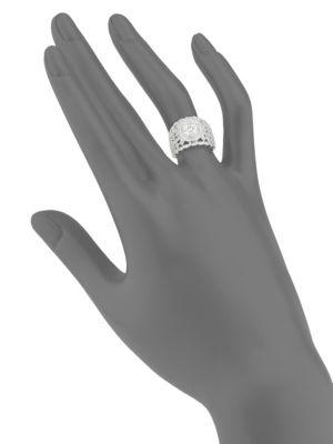 Diamond & 14 K White Gold Ring by Effy