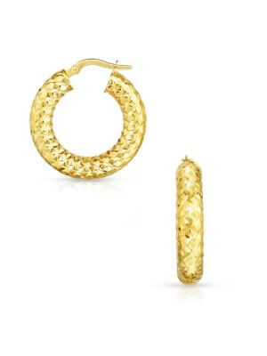 Thick 14 K Yellow Gold Hoop Earrings by Sphera Milano