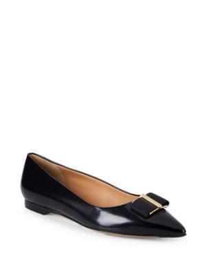 Point Toe Leather Ballet Flats by Salvatore Ferragamo