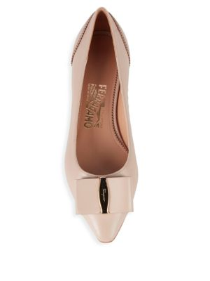 Bow Leather Ballet Flats by Salvatore Ferragamo