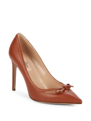 Point Toe Leather Stiletto Pumps by Valentino Garavani