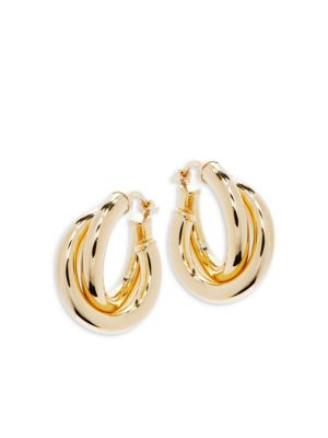 14 K Gold Donut Hoop Earrings by Saks Fifth Avenue