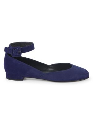 Domain Suede Ankle Strap Flats by Stuart Weitzman