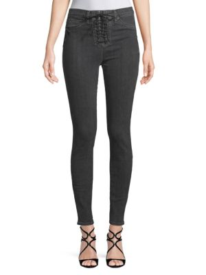 High Rise Lace Up Jeans by Hudson Jeans
