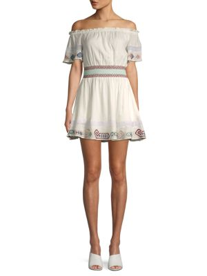 Melissa Embroidered Off The Shoulder Mini Dress by Red Carter
