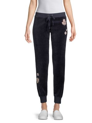 Floral Patch Velour Jogger Pants by Juicy Couture Black Label