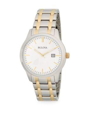 Two Tone Stainless Steel Link Bracelet Watch by Bulova
