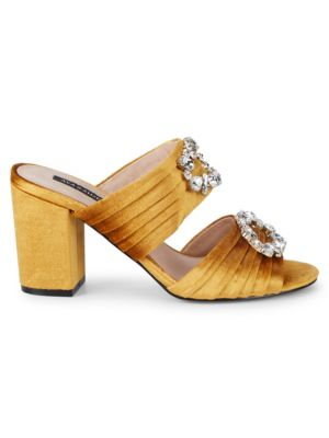 Perla Velvet Embellished Block Heel Sandals by Ava & Aiden