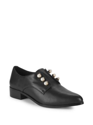Dylan Pearl Studded Leather Loafers by Pure Navy