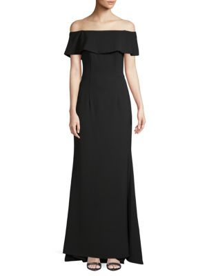 Off The Shoulder Crepe Gown by Carmen Marc Valvo Infusion
